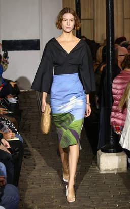 Awake Catherine Printed Cotton-Blend Pencil Skirt