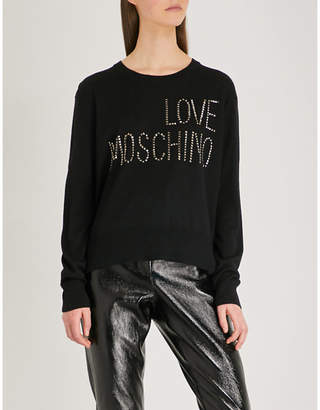 Love Moschino Studded logo wool-blend jumper
