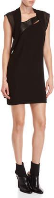 The Kooples Black Crepe Leather Trim Dress