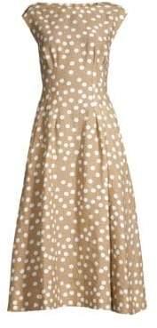 Escada Women's Boatneck Polka Dot A-Line Dress - Tan - Size 34 (4)
