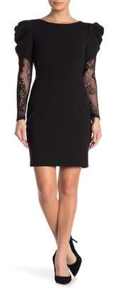 Betsey Johnson Scuba Crepe Lace Sleeve Dress