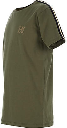 River Island Boys khaki green tape sleeve T-shirt