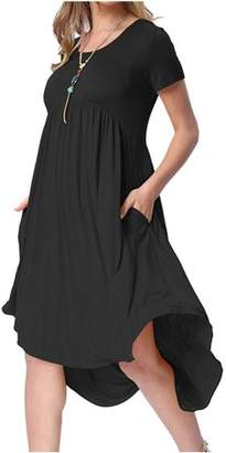 YONYWA Fashion Women Solid Casual Loose Knee-Length Dresses
