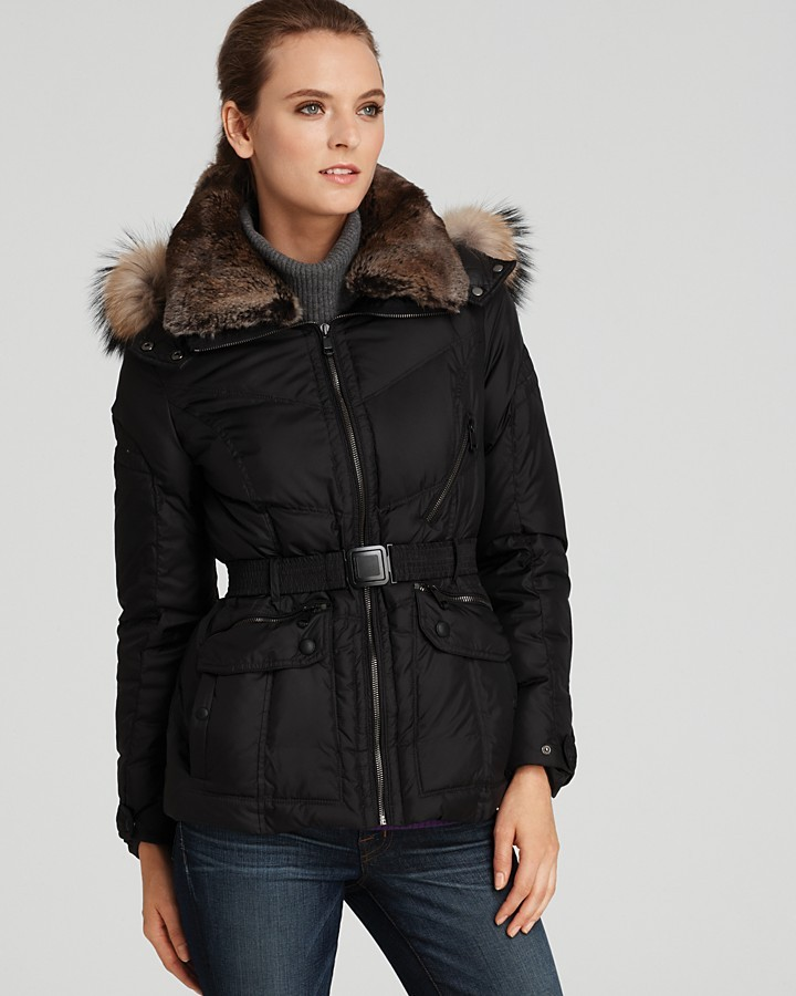 Andrew Marc Fur Trimmed Belted Puffer Jacket