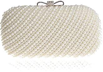 Off-White Kingluck Metal with Rhinestones/Imitation Pearls Wedding/special Occasion Clutches/evening Handbags with Rhinestones/Imitation Pearls (More Colors