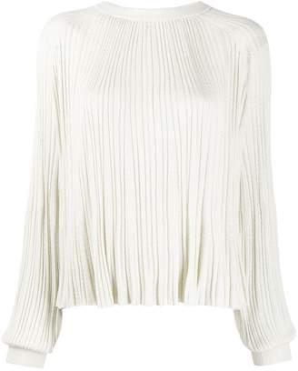 b8c9995c097f87 White Long Sleeve Pleated Blouse - ShopStyle