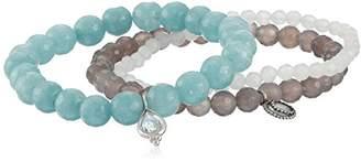 Satya Jewelry Sterling Silver Aquamarine, Angelite, and Agate Sacred Serenity Stretch Bracelet Set