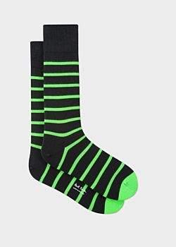 Paul Smith Men's Black Neon Green Stripe Socks