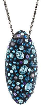 Alexis Bittar Lucite & Crystal Egg Pendant Necklace