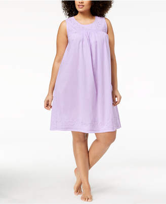 Charter Club Plus Size Cotton Woven Nightgown, Created for Macy's