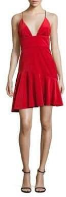 ABS by Allen Schwartz Velvet Ruffle Hem Dress