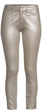 Joe's Jeans Charlie High-Rise Coated Metallic Ankle Jeans