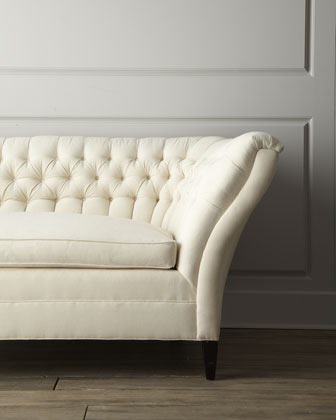 "Old Hickory Tannery Ellsworth"" Tufted-Curve Sofa"