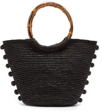 Sensi Studio - Pompom Embellished Toquilla Straw Basket Bag - Womens - Black