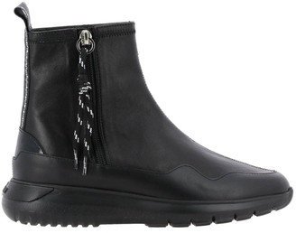 Hogan Flat Booties Cube Sneakers With Ankle Boot In Leather With Zip