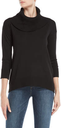 Cable & Gauge Cowl Neck Quarter Sleeve Sweater