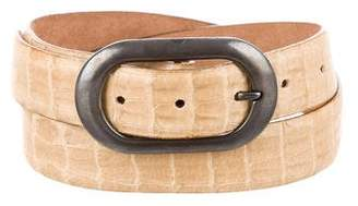 Giorgio Armani Embossed Leather Buckle Belt