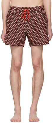 Paul Smith Black Strawberry Skull Swim Shorts $160 thestylecure.com