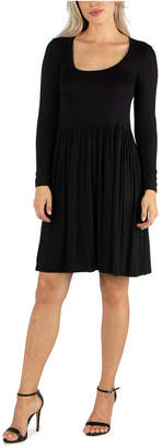 24seven Comfort Apparel Women Knee Length Pleated Long Sleeve Dress
