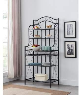 Leroy Pilaster Designs Black Metal & Walnut Wood Transitional 5 Tier Shelves Storage Freestanding Kitchen Bakers Organizer Rack Display Stand