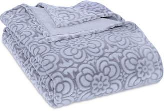 Berkshire VelvetLoft Tipped Floral Plush King Blanket Bedding