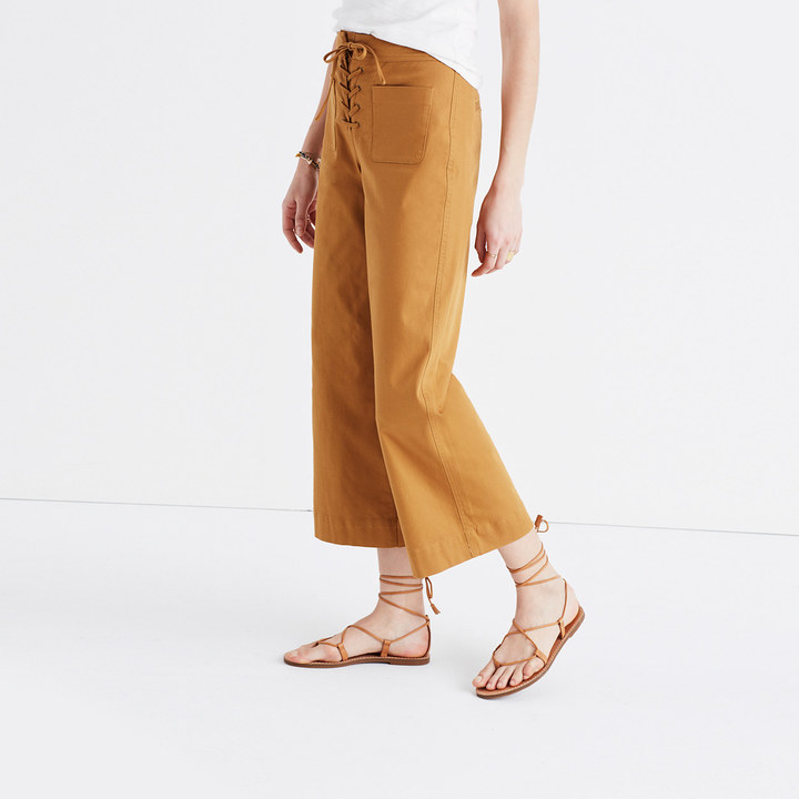 Lace-Up Wide-Leg Crop Pants
