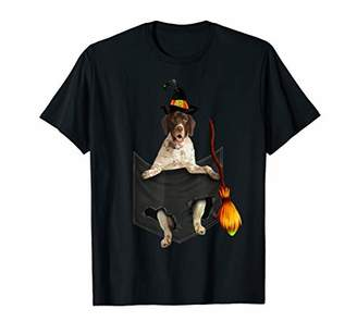 b-ROOM English Pointer witch broom pocket Halloween dog t-shirt