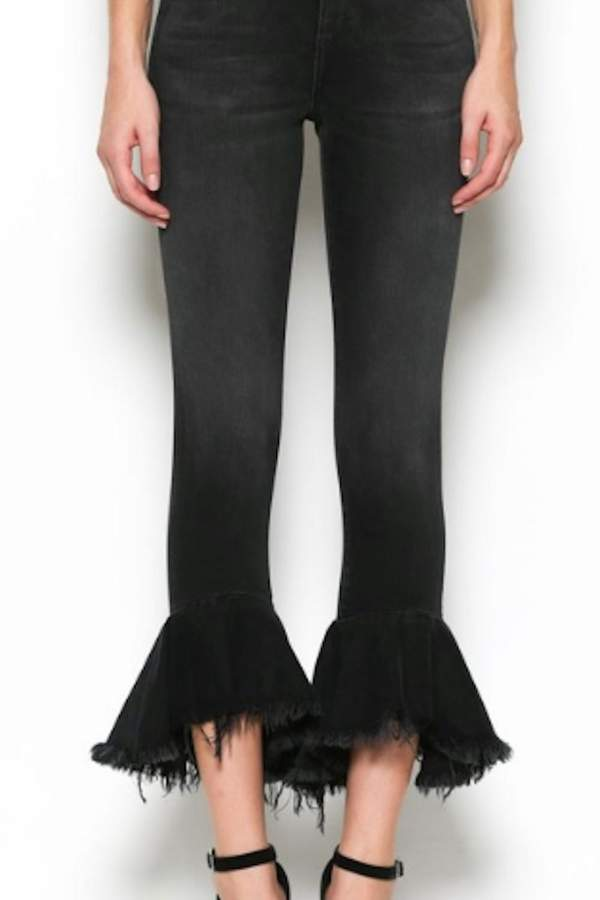 Hidden Jeans Ruffle Crop Jean