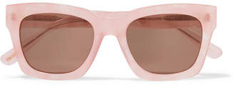 GANNI - Alice Square-frame Glittered Acetate Sunglasses - Pink $195 thestylecure.com