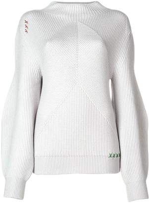 Carven rib knit balloon sleeve sweater