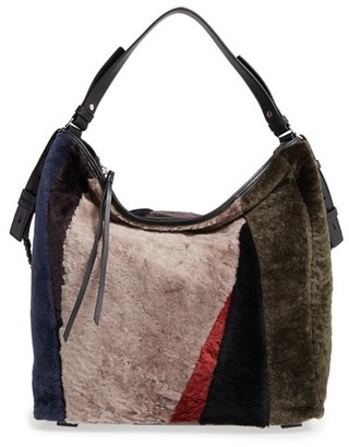 ALLSAINTS Kita Genuine Shearling Shoulder/Crossbody Bag $428 thestylecure.com