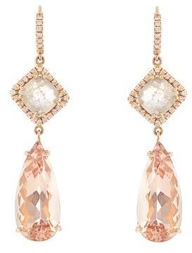 NSR Nina Runsdorf - Diamond, Morganite & Pink Gold Earrings - Womens - Pink Gold