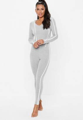 Missguided gray hooded side stripe loungewear Romper