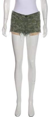 Rag & Bone Camouflage Mid-Rise Denim Mini Shorts