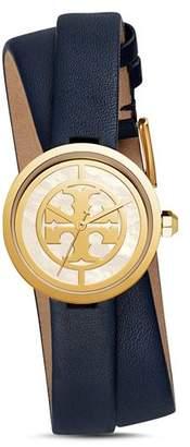 Tory Burch The Reva Blue Wrap Strap Watch, 28mm