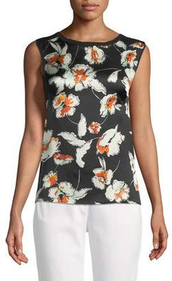 St. John Jersey Knit Shell w/ Hammered Silk Floral-Print Front