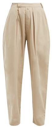 Katharine Hamnett Bonnie High Rise Cotton Trousers - Womens - Beige