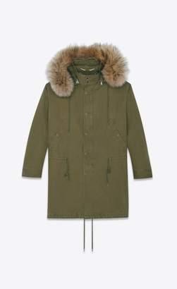 Saint Laurent Oversized Parka In Cotton Gabardine And Racoon Fur