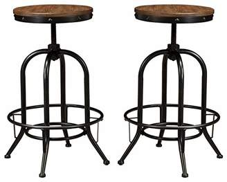 Signature Design by Ashley Ashley Furniture Signature Design - Pinnadel Bar Stool - Pub Height - Set of 2 - Rustic Brown