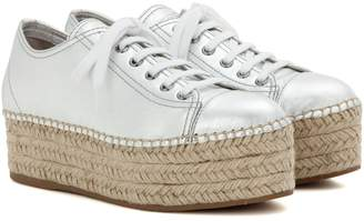 Miu Miu Platform metallic leather sneakers