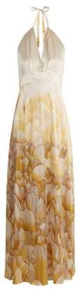 Adriana Iglesias - Camille Floral Print Halterneck Stretch Silk Gown - Womens - White Gold
