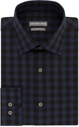Geoffrey Beene Flex Collar Stretch Slim Fit Long Sleeve Broadcloth Checked Dress Shirt - Slim