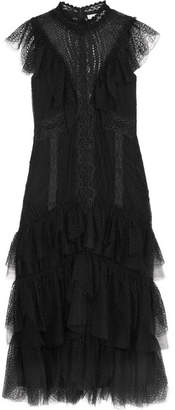 Jonathan Simkhai Tiered Ruffled Lace Dress - Black