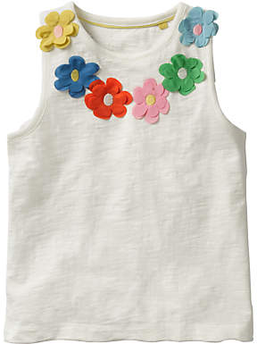 Boden Mini Girls' Flower Power Vest Top, White