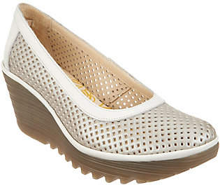 Fly London Perforated Leather Wedge Pumps -Yobe