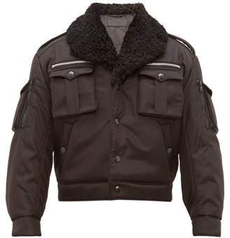 Prada Shearling Collar Flight Jacket - Mens - Black