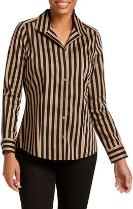 Foxcroft Annie Stripe Cotton Sateen Blouse
