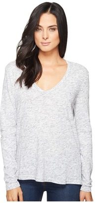Michael Stars Eyelash Jersey Long Sleeve V-Neck Top $78 thestylecure.com