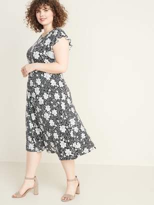 Old Navy Floral-Print Ruffle-Sleeve Fit & Flare Plus-Size Midi