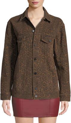 Alexander Wang Daze Leopard-Print Denim Jacket